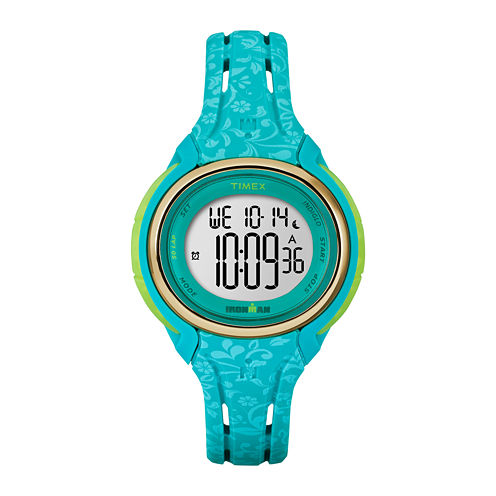 Timex® Womens Sleek Blue Floral 50 Lap Strap Watch