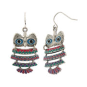 Capelli Silver-Tone Cast Owl Drop Earrings