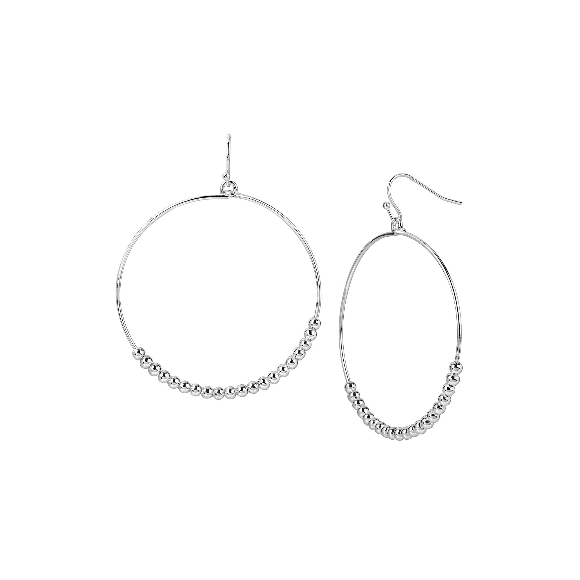 Silver Reflections™ Silver-Plated Bead Hoop Earrings