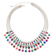 Decree® Multicolor Bead Silver-Tone 3-Strand Fringe Bib Necklace