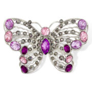 Liz Claiborne® Purple Stone Silver-Tone Butterfly Pin