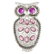 Liz Claiborne® Purple Stone Silver-Tone Owl Pin