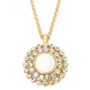 Monet® Gold-Tone Crystal and White Starburst Pendant Necklace