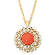 Monet® Gold-Tone Crystal and Orange Sunburst Pendant Necklace