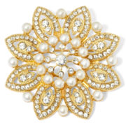 Monet® Gold-Tone Crystal and Simulated Pearl Snowflake Pin