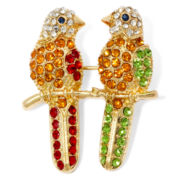Monet® Gold-Tone Purple and Green Crystal Parrot Pin