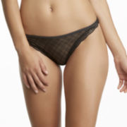 Jezebel Marni Diamond-Texture Lace-Trim Bikini Thong Panties
