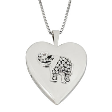 jcpenney.com | Heart Crystal Sterling Silver Elephant Locket Pendant Necklace