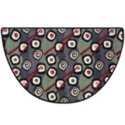 Keep Calm Sushi Wedge Accent Rug