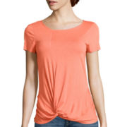 a.n.a® Short-Sleeve Knot-Front Top- Petite