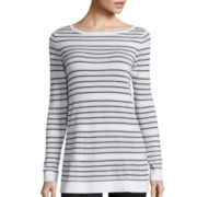 Liz Claiborne® Long-Sleeve Striped Sweater Tunic