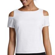 Bisou Bisou® Short-Sleeve Cold-Shoulder Piqué Top