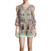 Bisou Bisou® Long-Sleeve Lace-Up Romper