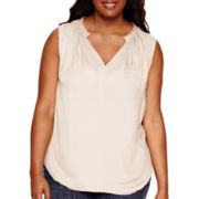 a.n.a® Sleeveless Fringed Blouse - Plus
