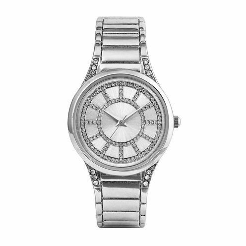 Mixit® Womens Silver Glitter Bangle Watch