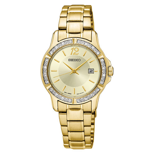 Seiko Womens Gold Tone Bracelet Watch-Sur714