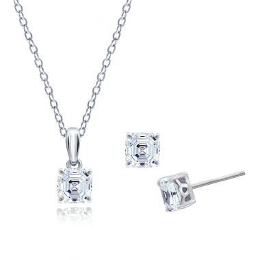 jcpenney.com | Diamonart Womens 3-pc. Clear Cubic Zirconia Sterling Silver Jewelry Set