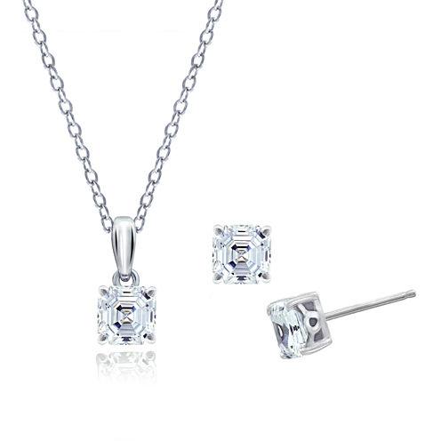 Diamonart Womens 3-pc. Clear Cubic Zirconia Sterling Silver Jewelry Set