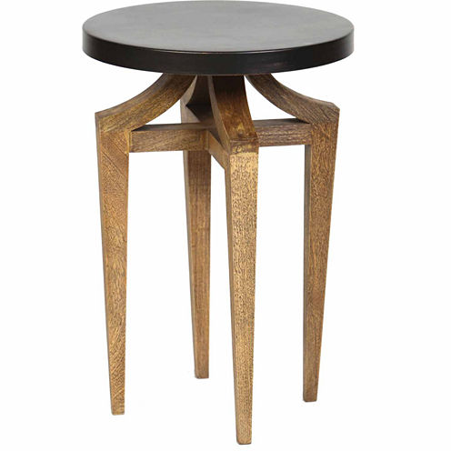 Knox And Harrison Sandblasted Legs And Metal Top Chairside Table