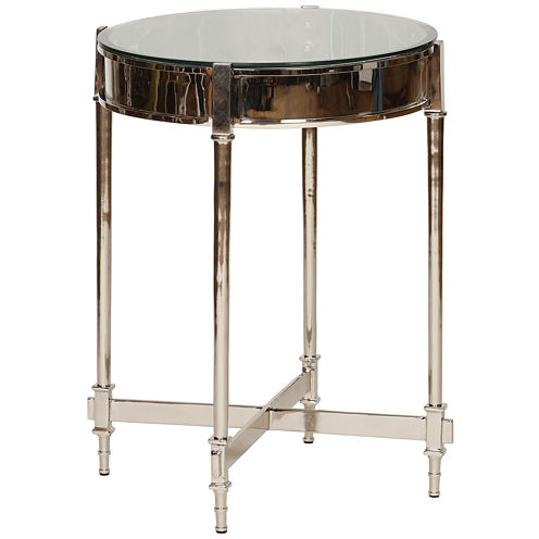 Knox And Harrison Nickel And Beveled Glass Chairside Table