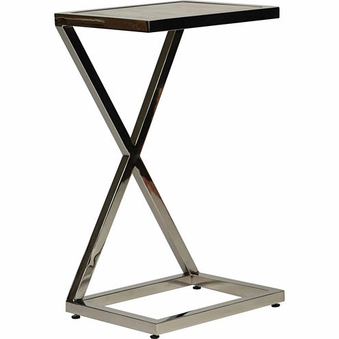 X With Stone Top Insert Chairside Table