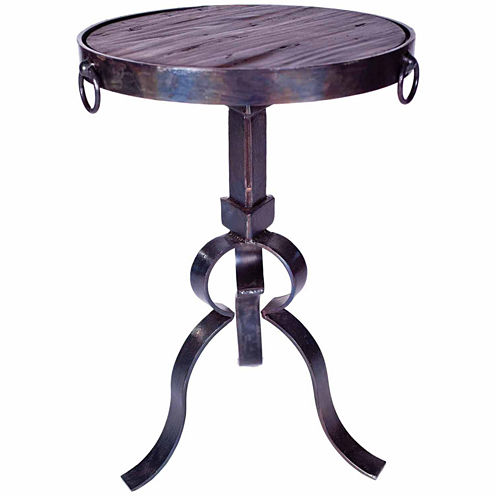 Iron With Wood Top Chairside Table