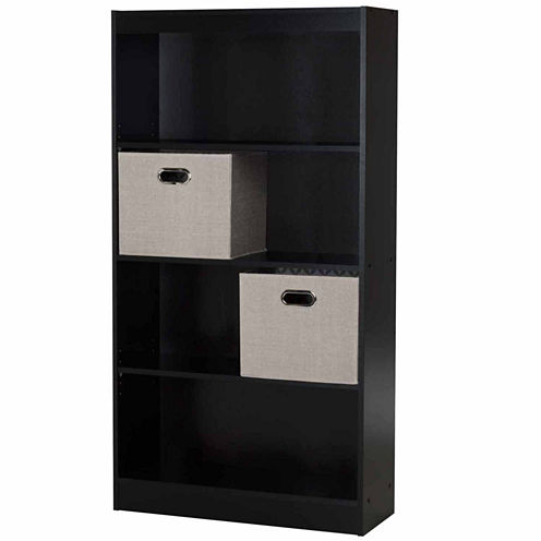 Axess 4-Shelf Bookcase with 2 Fabric Storage Baskets