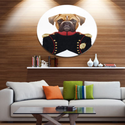 Designart Boxer Dog in Military Uniform Disc Animal Metal Circle ...