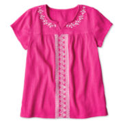 Arizona Embroidered Gauze Short-Sleeve Top - Girls 6-16 and Plus