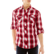 Chalc® Long-Sleeve Mini-Plaid Woven Shirt