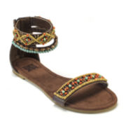 MUK LUKS® Wren Beaded Ankle-Strap Sandals