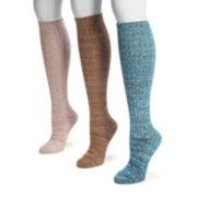 MUK LUKS® 3-pk. Marled Knee High Socks