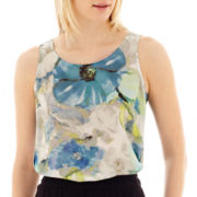 Liz Claiborne® Sleeveless High-Low Print Blouse - Tall