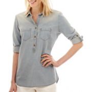 Liz Claiborne® Elbow-Sleeve Denim Shirt - Tall