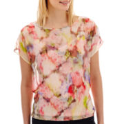 Liz Claiborne® Short-Sleeve Banded Blouse with Cami - Tall