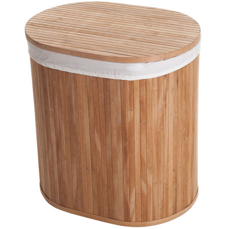 Lavish Home Bamboo Clothes Hamper with Lid and Removable Liner