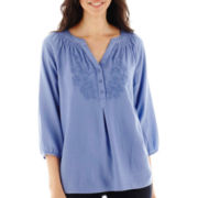 St. John's Bay® 3/4-Sleeve Smocked Embroidered Peasant Top