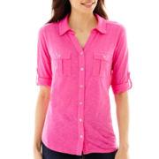 Liz Claiborne® Elbow-Sleeve Roll-Tab Button-Front Soft Shirt - Petite