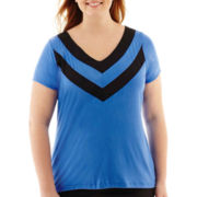 Worthington® Short-Sleeve Piped V-Neck Tee - Plus