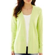 Liz Claiborne® Long-Sleeve Shadow-Striped Cardigan Sweater