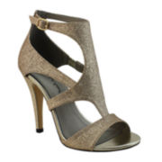 Michael Antonio Real Glitter Strappy High Heel Sandals