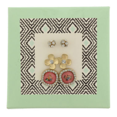 jcpenney.com | Capelli of New York Gold-Tone Fireball Flower and Button 3-pr. Stud Earring Set