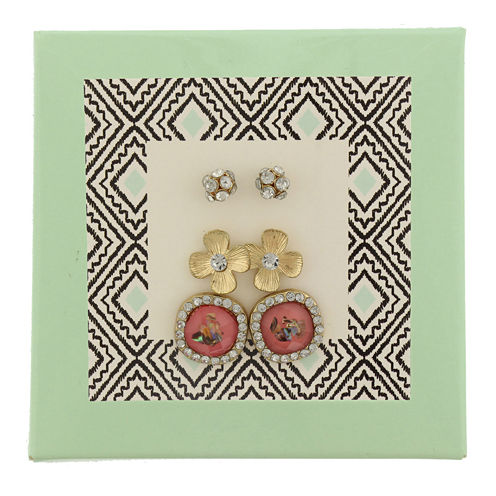Capelli of New York Gold-Tone Fireball Flower and Button 3-pr. Stud Earring Set