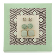 Capelli of New York Gold-Tone Mint Green Flower Square and Fireball 3-pr. Stud Earring Set