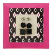 Capelli of New York Gold-Tone Black Flower Square and Fireball 3-pr. Stud Earring Set