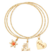 Liz Claiborne® Orange Stone Gold-Tone Charm 3-pc. Bangle Set
