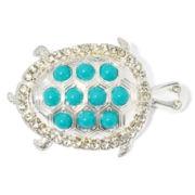 Liz Claiborne® Blue Stone Silver-Tone Turtle Pin