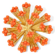 Liz Claiborne® Orange Stone Gold-Tone Flower Cluster Pin