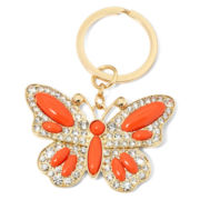 Liz Claiborne® Orange Stone Gold-Tone Butterfly Key Chain