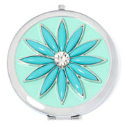 Liz Claiborne® Blue Stone Silver-Tone Flower Mirror Compact